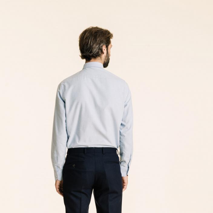 Classic fit light blue flannel shirt