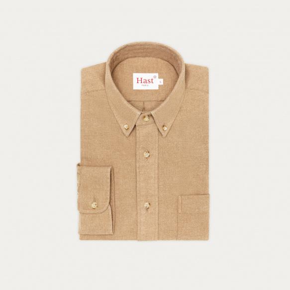 Chemise décontractée en flanelle épaisse beige