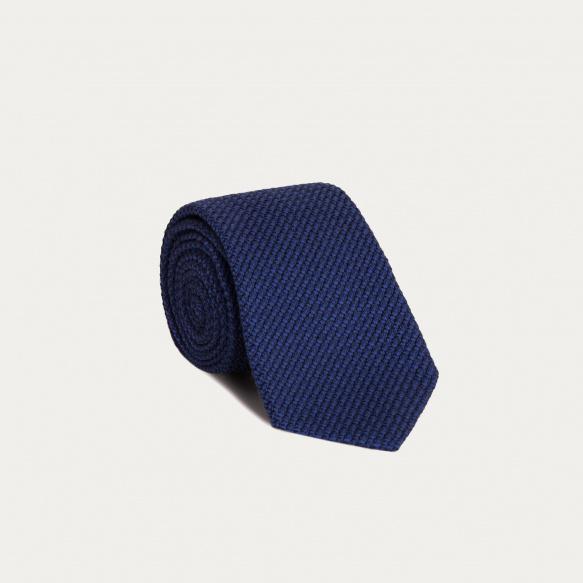 Cravate bleue en grenadine de soie et coton