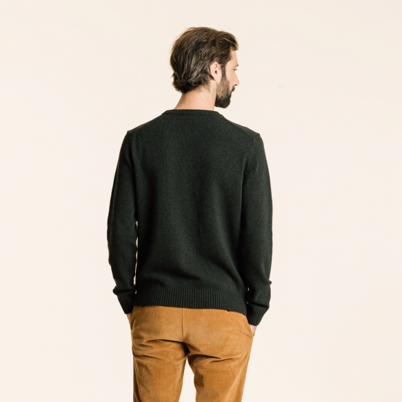 Green merino wool jumper