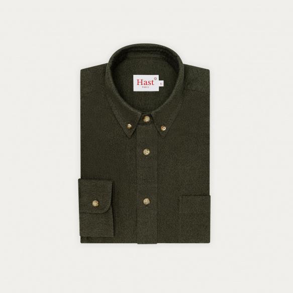 Chemise décontractée en flanelle vert chiné