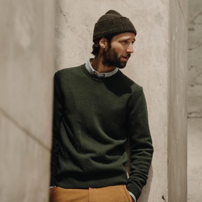 Green merino wool jumper