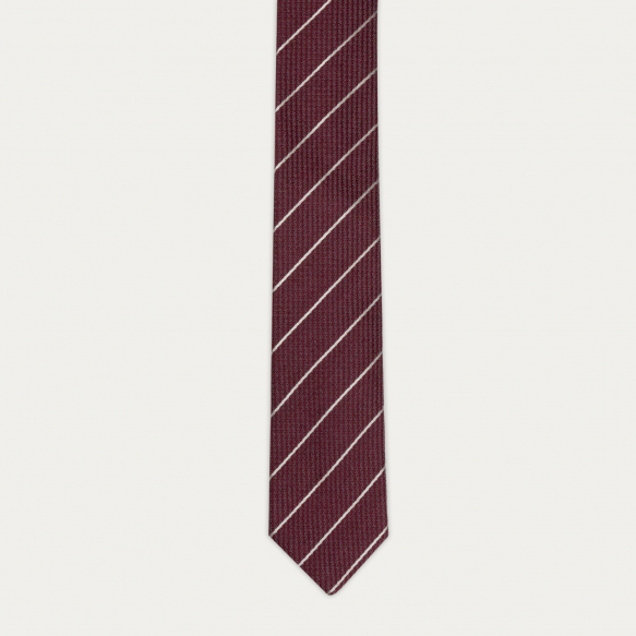 Textured burgundy stripes tie