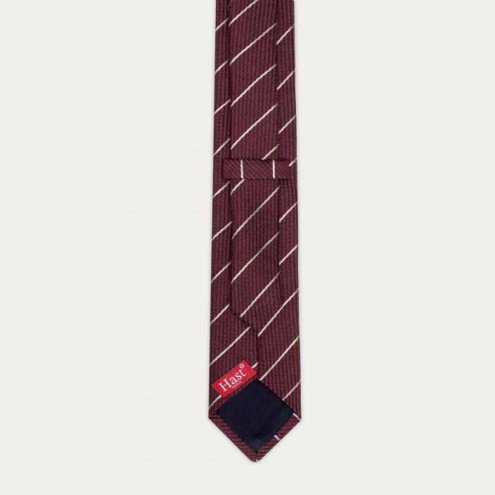 Cravate texturée bordeaux à rayures