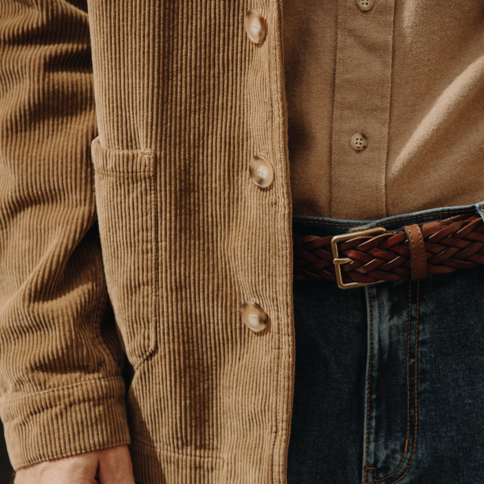 Brown braided Italian leather belt