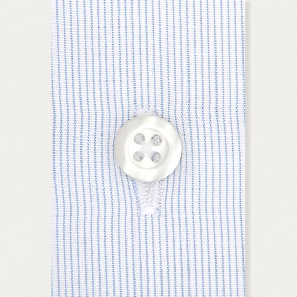 Chemise classique  en popeline faux-uni à fines rayures bleues