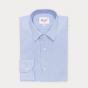 Slim fit light blue micro houndstooth oxford shirt