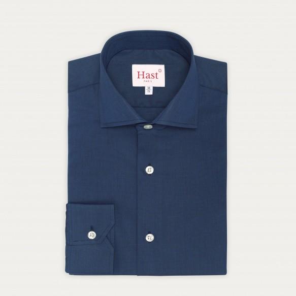 Chemise classique en fil-à-fil bleu nuit