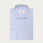Classic fit semi plain blue checks poplin shirt
