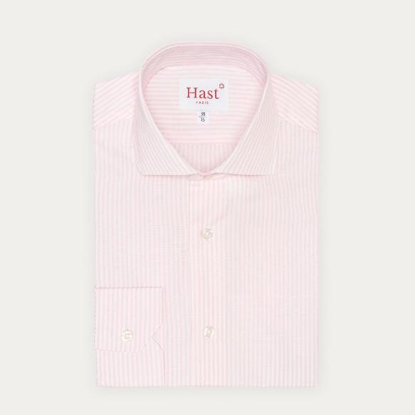 Chemise classique en popeline à rayures roses