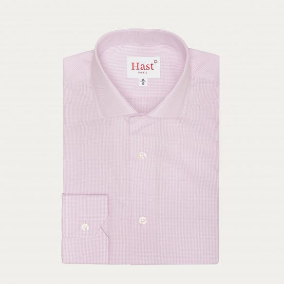 Chemise cintrée en popeline à carreaux parme