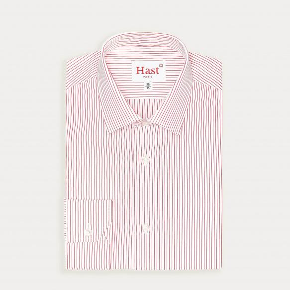 Chemise cintrée en popeline à fines rayures rouges