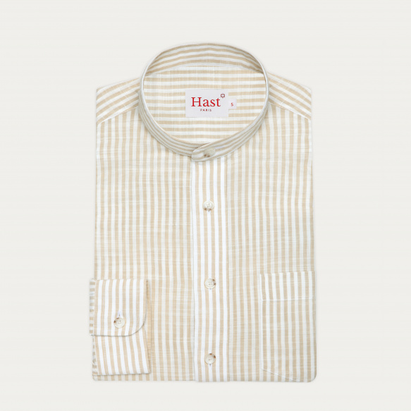 Beige stripes cotton casual...