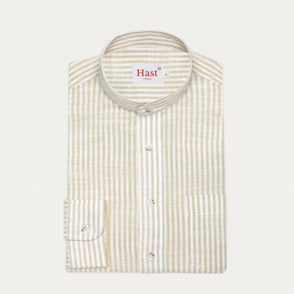 Beige stripes cotton casual...