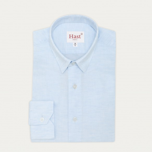 Chemise classique en lin et coton bleu clair