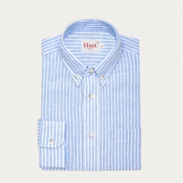 Blue stripes linen casual...