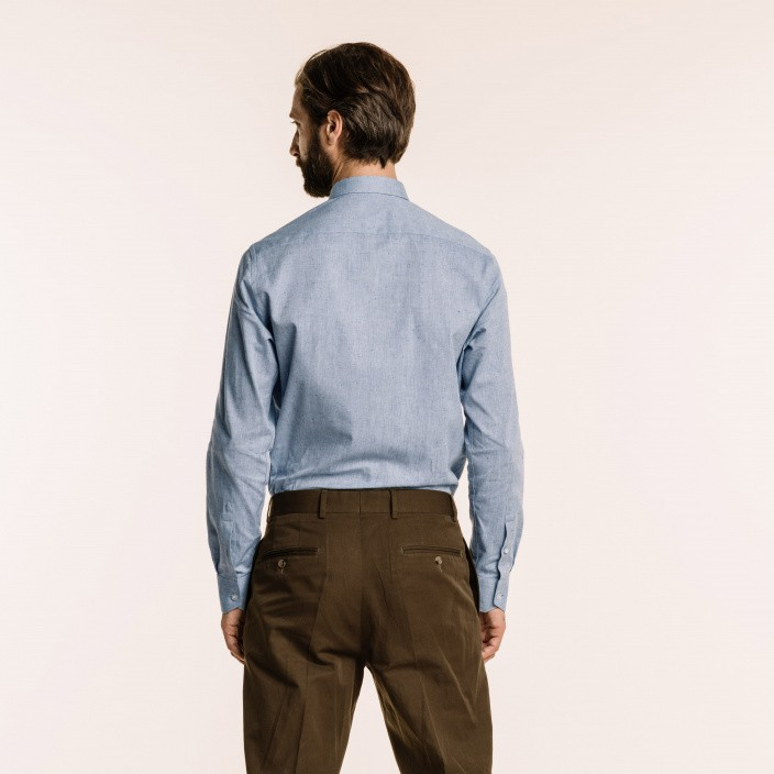 Classic fit blue textured chambray