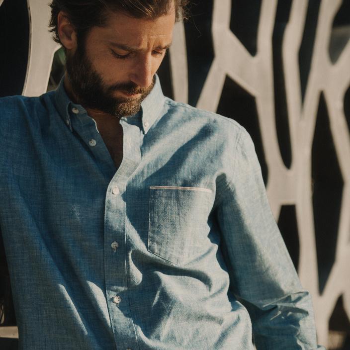 Chemise décontractée en chambray selvedge japonais