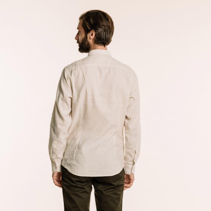 Slim fit linen and cotton beige stripes shirt