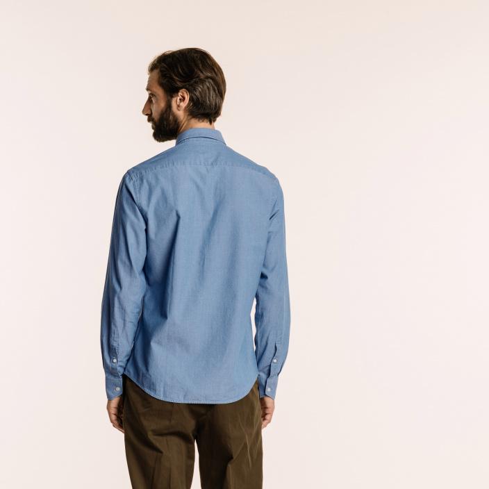 Chemise classique en chambray italien bleu