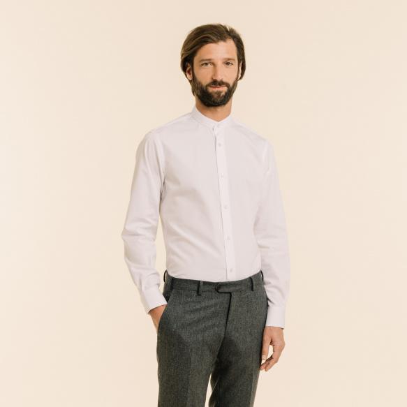 Slim fit white poplin shirt