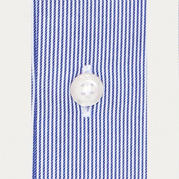 Chemise classique en twill à fines rayures bleu marine