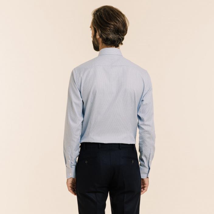 Chemise classique en twill à carreaux bleus