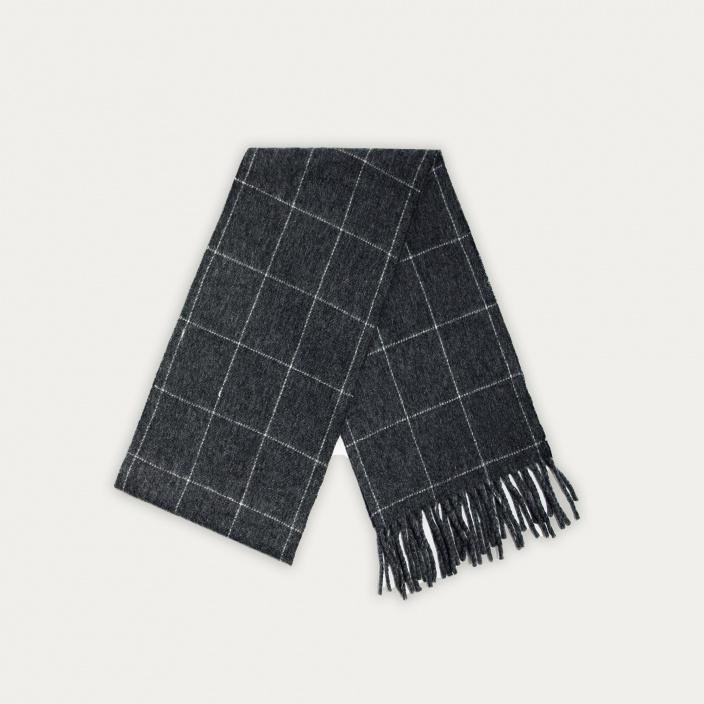 Echarpe en laine vierge grise à carreaux blancs
