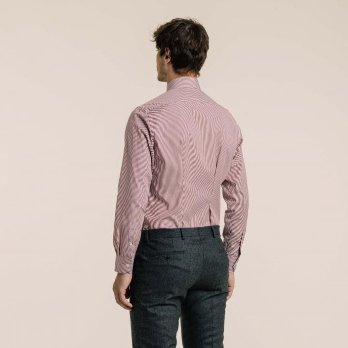 Slim fit poplin wide garnet red colour stripes shirt