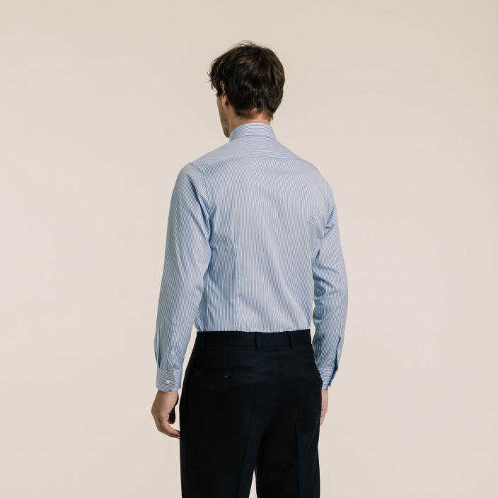 Slim fit poplin blue stripes shirt