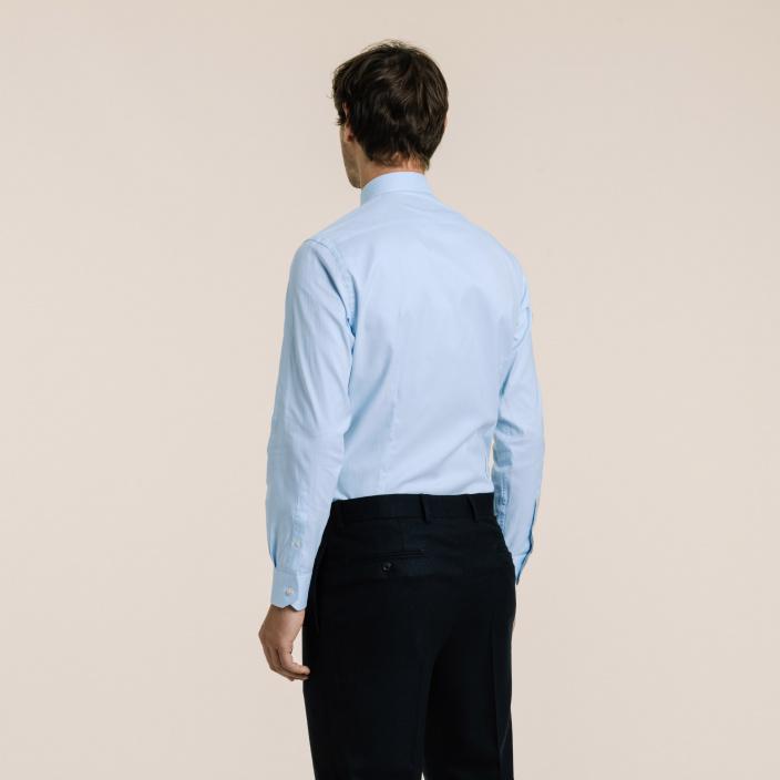 Slim fit poplin thin blue stripes shirt