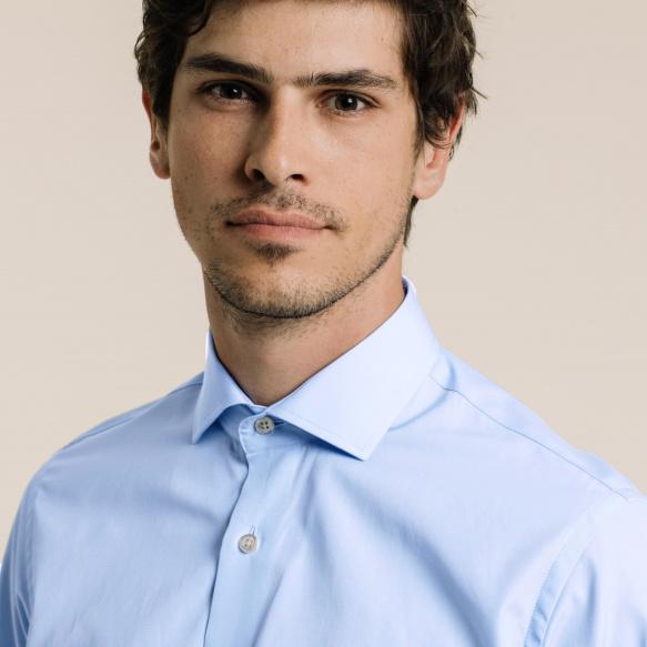 Slim fit poplin blue shirt