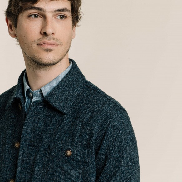 Veste de travail en laine chinée bleue