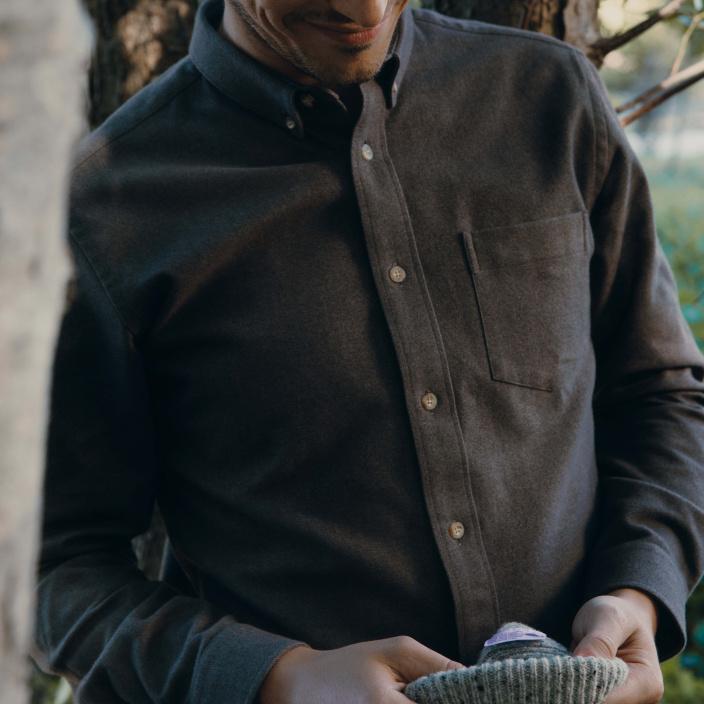 Chemise décontractée en flanelle épaisse châtaigne