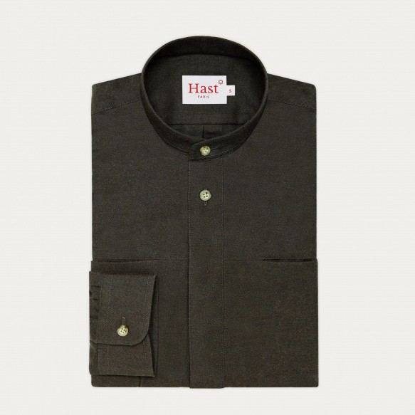 Military green flannel...