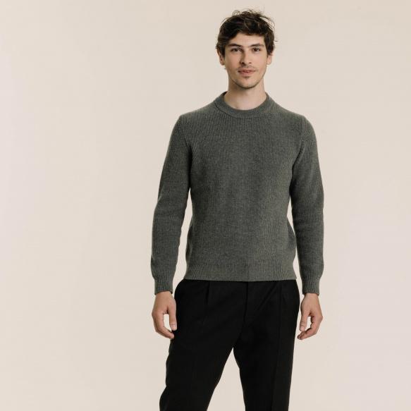 Pull en laine mérinos vert sauge