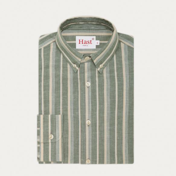 Chemise décontractée en coton, lin et ramie à rayures vertes et beiges