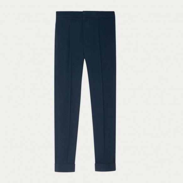 Pantalon en seersucker bleu marine