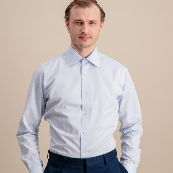 Slim fit light blue poplin...