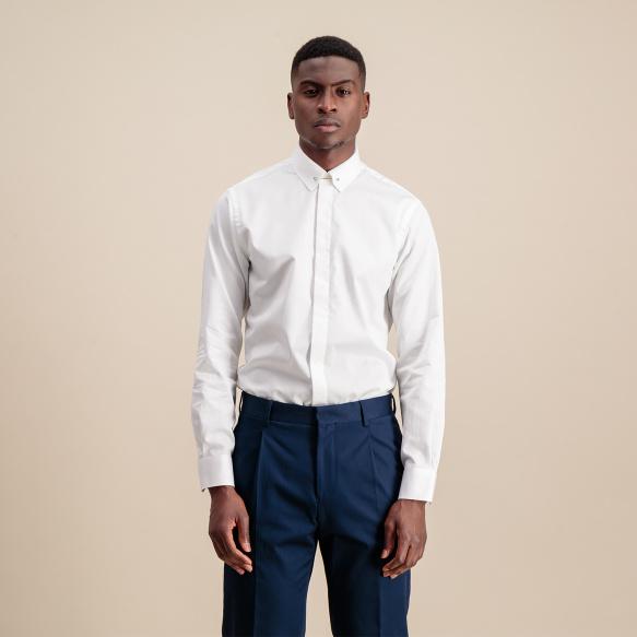 Classic fit white dobby shirt