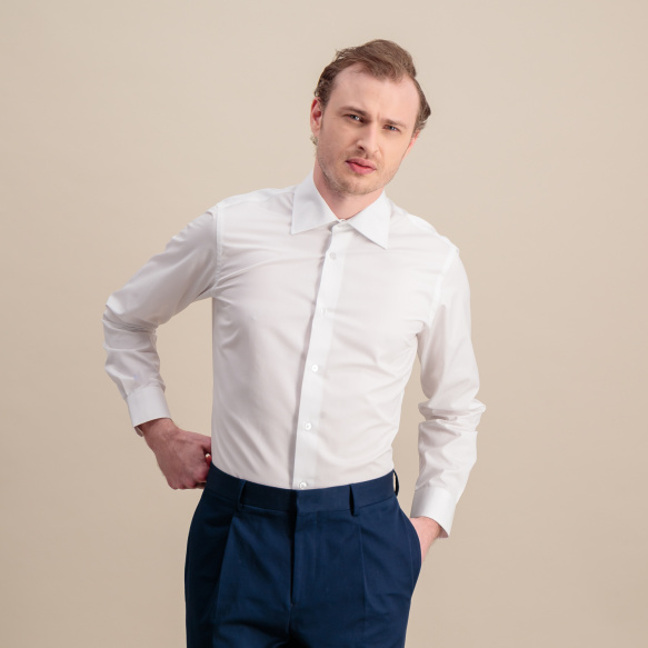 Slim fit white poplin shirt