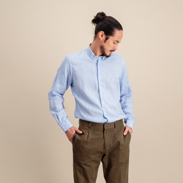 Classic fit blue textured...