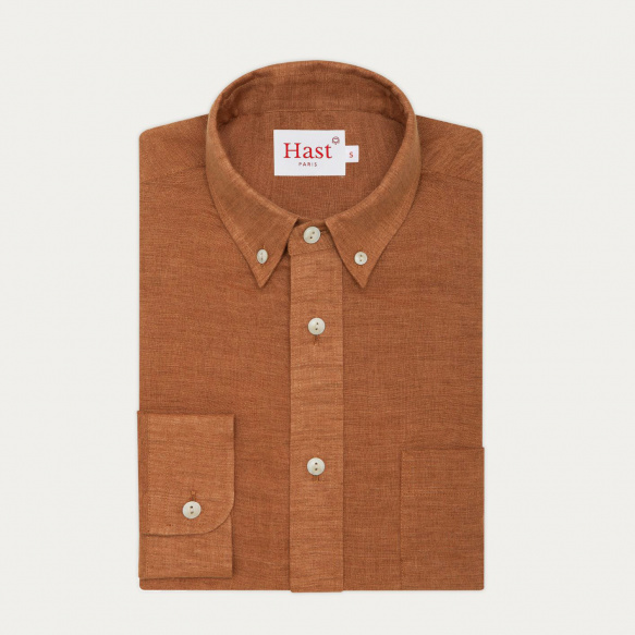 Ocher linen casual shirt