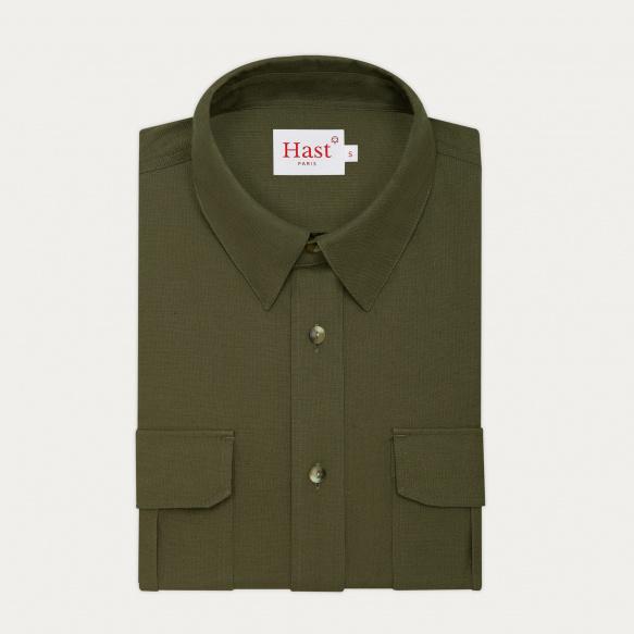 Kaki cotton and hemp shirt