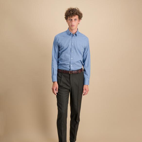 Slim fit heathered blue...