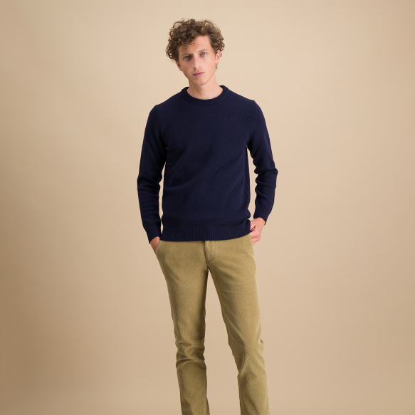 Pull en laine mérinos bleu