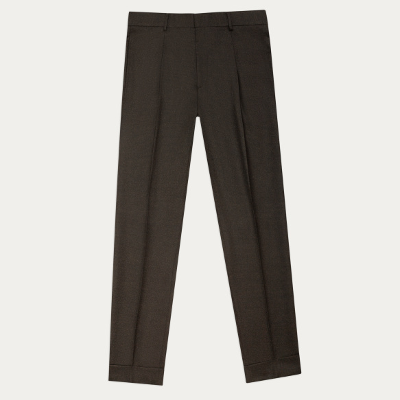 Brown flannel pleated pants