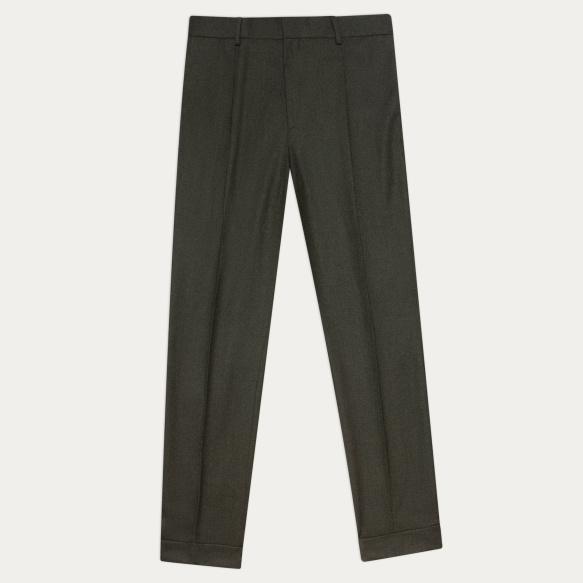 Green flannel pleated pants