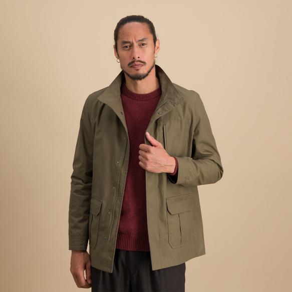 Waterproof kakhi waxed jacket
