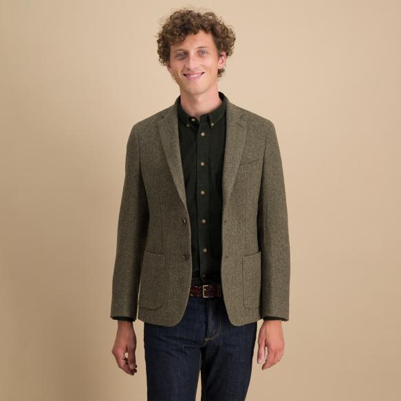 Green herringbone wool blazer